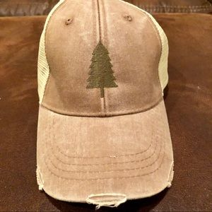 Baseball cap, brown with embroidered green tree
